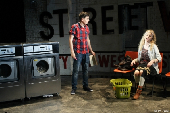 1097-2113-Tom Milner (Robbie) and Amy Lennox (Velcro) in Soho Cinders. Photo by Roy Tan