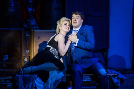 The Producers UK Tour 2015 - Tiffany Graves as Ulla and Jason Manford as Leo Bloom - photo credit Manuel Harlan