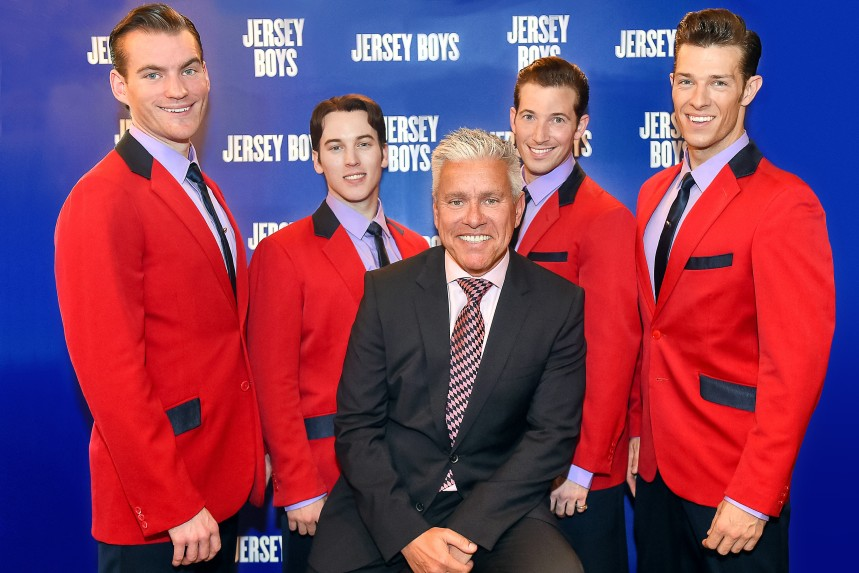 David Ian with Jersey Boys (L-R Sam Ferriday, Matt Corner, David Ian, Henry Davis, Lewis Griffiths) - credit Ian Watson