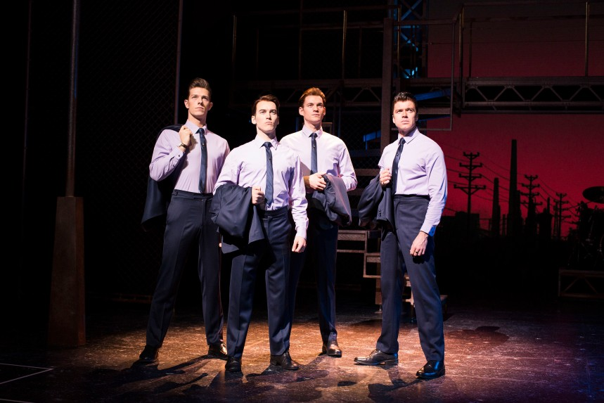(L-R) Lewis Griffiths, Matt Corner, Sam Ferriday and Stephen Webb in JERSEY BOYS UK and Ireland tour credit Helen Maybanks