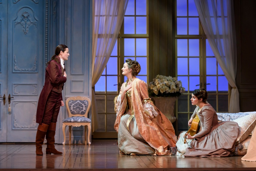 Hanna Hipp as Cherubino, Eleanor Dennis as Countess Almaviva and Anna Devin as Susanna