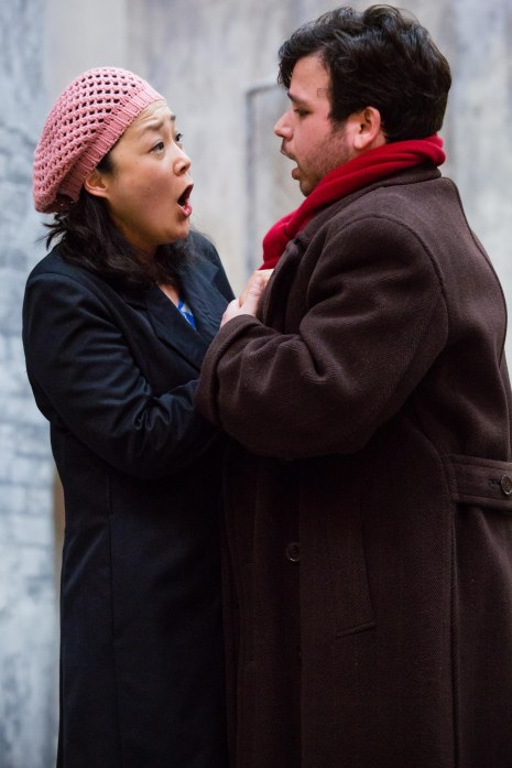 Hye-Youn Lee (Mimi) and Luis Gomes (Rodolfo) in rehearsals for La bohème. Scottish Opera 2017. Credit Sally Jubb